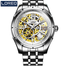 LOREO The new genuine automatic mechanical steel all hollow leisure men s sports waterproof fashion gold