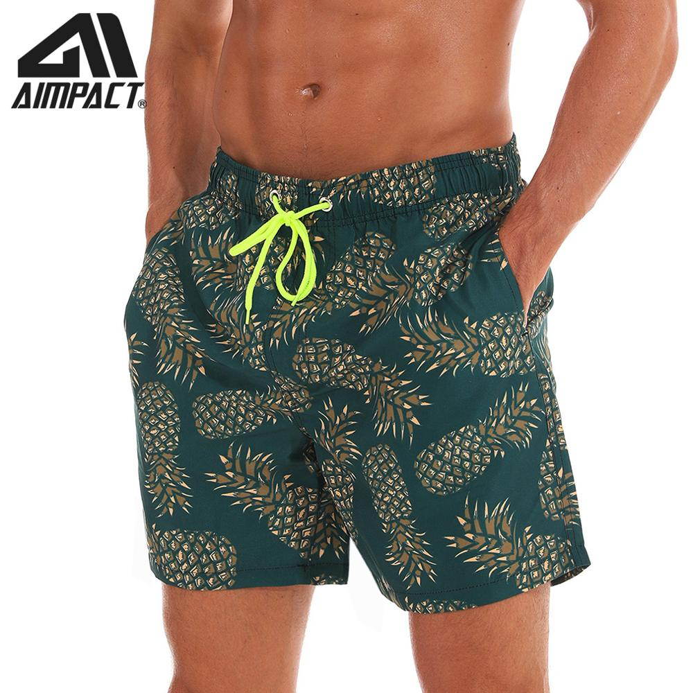 AIMPACT Swimming Trunks for Men Beachwear Green Pineapple   Board     Shorts   Men's Sexy Swimwear with Mesh Lining AM2196
