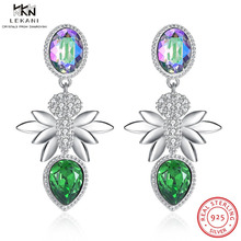 где купить Colorful Crystal Rhinestone Platinum Gold Plated Drop Earrings LEKANI Crystals From Swarovski Earrings 925 Ssterling Silver дешево