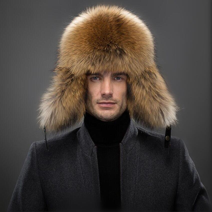Men Winter Fur Hat Outdoor Windproof Thick Warm Natural Fox Fur Hat Genuine  Leather Snow Caps Adult Raccoon Fur Bomber Hat e822375c3677