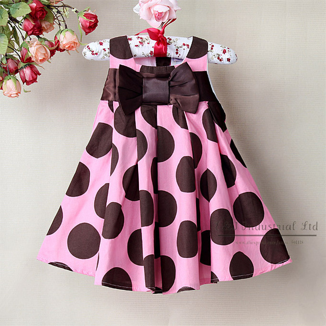 2013 Toddler Girl Dresses Brown Dot Baby Dresses Party With Bow Infant Flower Dress  6PCS/Lot Children  Clothes GD21114-03^^EI