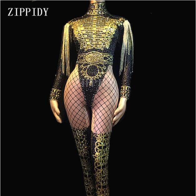 Gold Tassel Rhinestones Printed Jumpsuit Women s Birthday Prom Outfit Evening Show Female Singer Dance Bodysuit