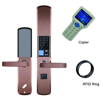 Semiconductor fingerprint electronic intelligent lock indoor key app anti-theft door fully automatic+uid rfid ring+one copier
