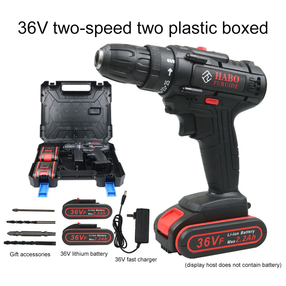 Cordless Electric Drill Power Tools Multifunctional 2 Speed Screwdriver 25V 36V Electric Screwdriver with 2 Lithium Battery