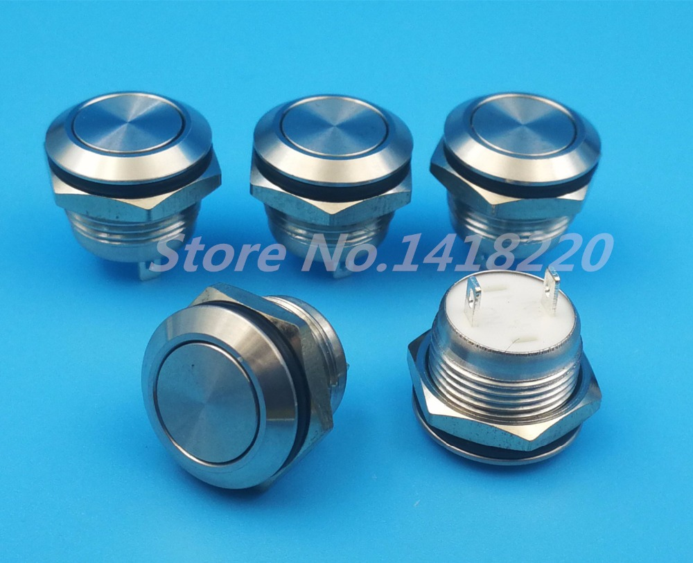 Free shipping 50Pcs 12mm Waterproof Stainless Steel 2Pin 1NO Momentary Mini Push(Click) Button Switch Short Body 5 pin dpst 2 phase 2 button momentary waterproof electromagnetic switch 230vac