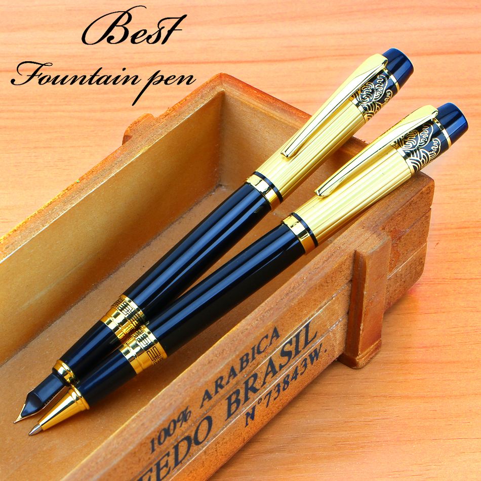 New Fountain Pen Meduim Nib Metal Plastic Golden Black Color Sign Pens and Elegant Upscale Golden Roller Ball Pen free shipping