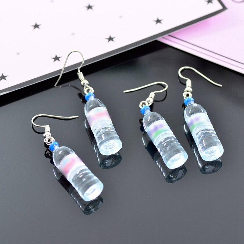 AnpassungsfäHig Lebendige Wenig Mineral Wasser Flasche Anhänger Silber Baumeln Ohrringe Ohrringe Für Frauen