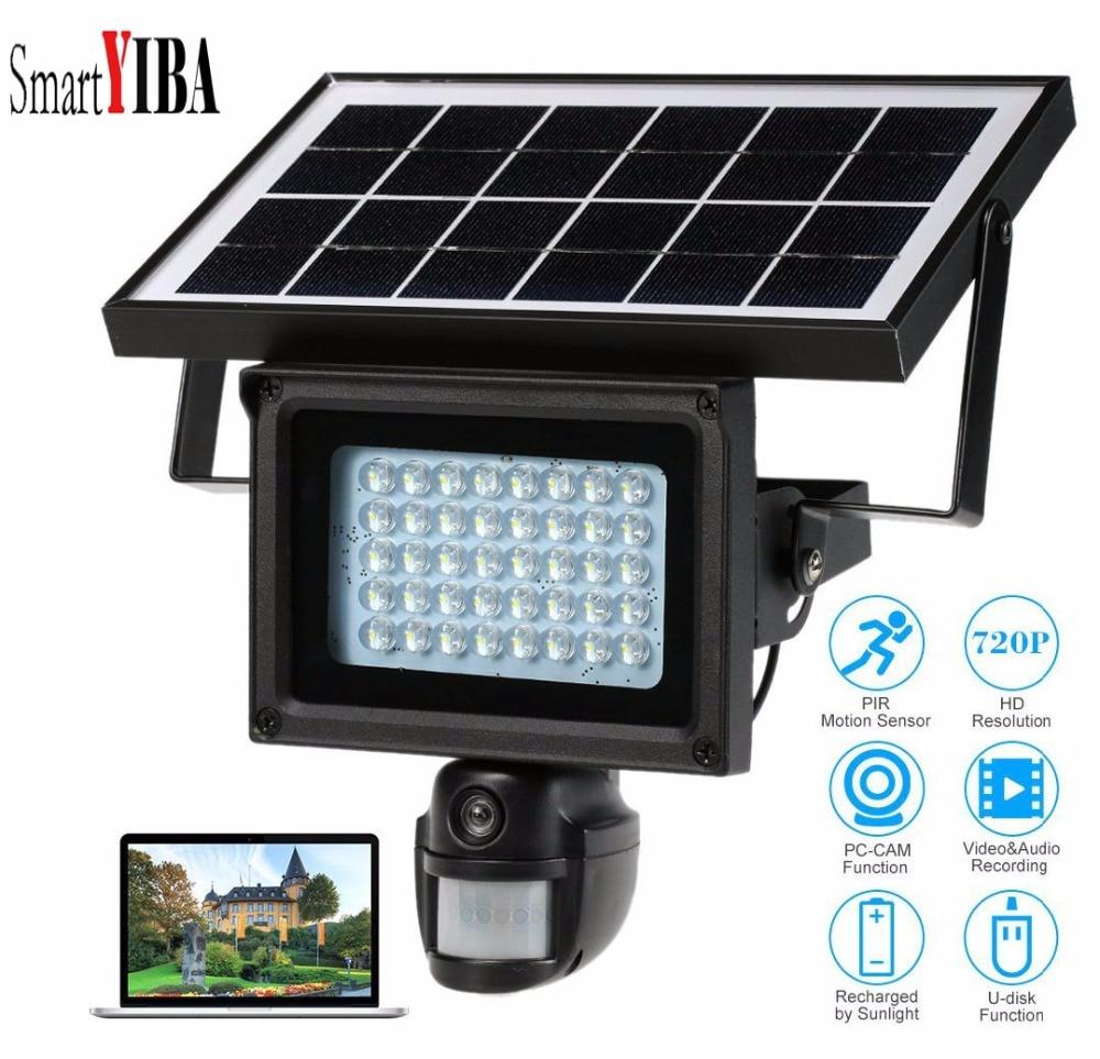 SmartYIBA Waterproof Solar Security Camera 720P 64G Wireless Solar Powered CCTV Camera Outdoor Surveillance Camera Recording PIR-in Surveillance Cameras from Security & Protection    1