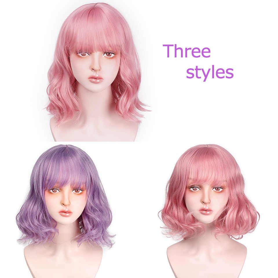 AISI волос короткий розовый волнистый синтетический парик с взрыва фиолетовый волна парик можно Косплей волосы на Хэллоуин для женщин