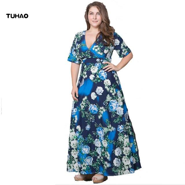 TUHAO Plus Größe 5XL 6XL Floral bedruckte Maxi Kleid 2017 frauen Böhmisches kleid Frauen Sexy Elegante Frauen kleid Langes Dresse NO27
