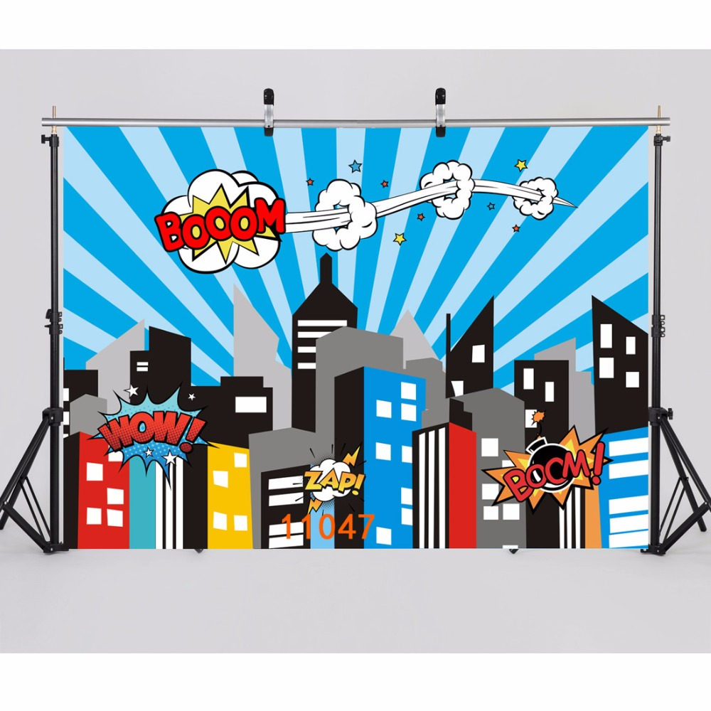 SJOLOON super hero scene photgraphy backdrops baby photography background party photo background picture fond photo studio vinyl capisco super city photography backdrop theme building studio super hero photo background prop for photography party