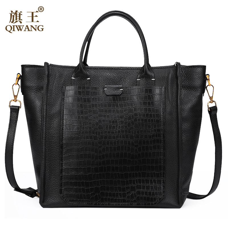 QIWANG Large Real Leather Women Handbag Brand Design OL Bag High Quality New First Layer Cow Leather Bag laptop Tote Bag 2017 hot high quality brand baotou layer of cow leather bags the new ms tassel handbag is a 100% leather handbag