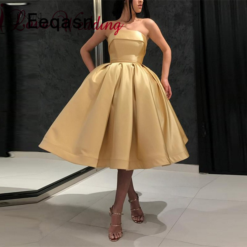 New Arrival 2019 Gold Strapless Cocktail Dresses A Line Tea Length Formal Lace Up Back Cocktail Party Gown