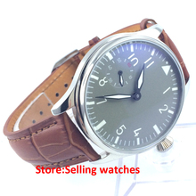 44mm Parnis 6497 Hand Winding Movement gray Dial Wrist Watch Men