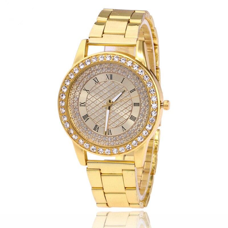 YBotti Luxury Brand Women Watcth Gold Steel Bracelet Watch Quartz Wristwatch Cry