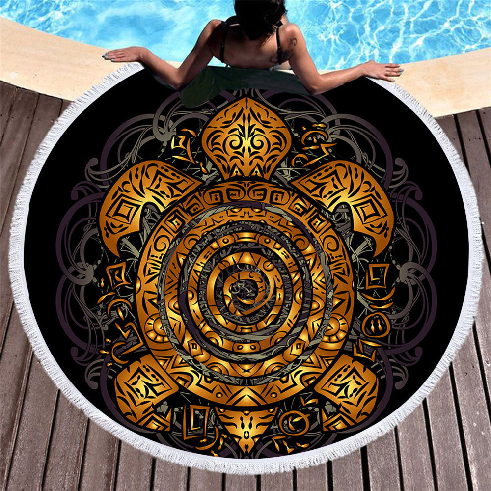 Black Round Beach Towel Golden Turtle Lotus Printed Microfiber Beach Towel Cool Swimming Summer Vacation Shawl