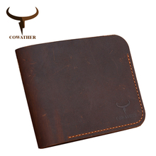COWATHER 2019 Crazy horse leather wallets for men fashion cross style cow genuine leather male purse112 free shipping
