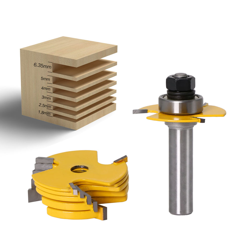 """Image 2 - 2Pc 6 Piece Slot Cutter 3 Wing Router Bit Set Woodworking Chisel Cutter Tool  8""""& 12"""" Shank Tenon Cutter for Woodworking Tool-in Milling Cutter from Tools"""