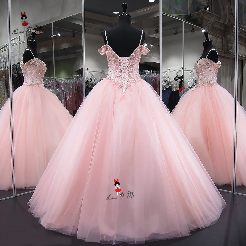 Vestido de 15 Anos Sweet 16 Dresses Pink Quinceanera Dresses 2019 Ball Gown Luxury Prom Party Pageant Dress Floor Length Crystal