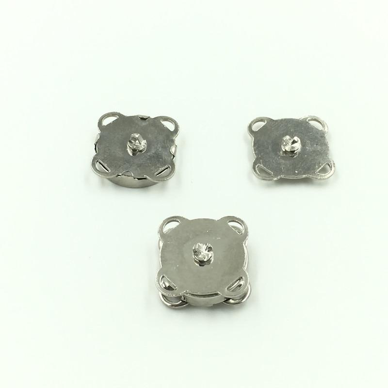 100Sets Wholesale Silver Tone Plum Blossom Shape Magnetic Clasps DIY Purse Handbag Closure 15x15mm