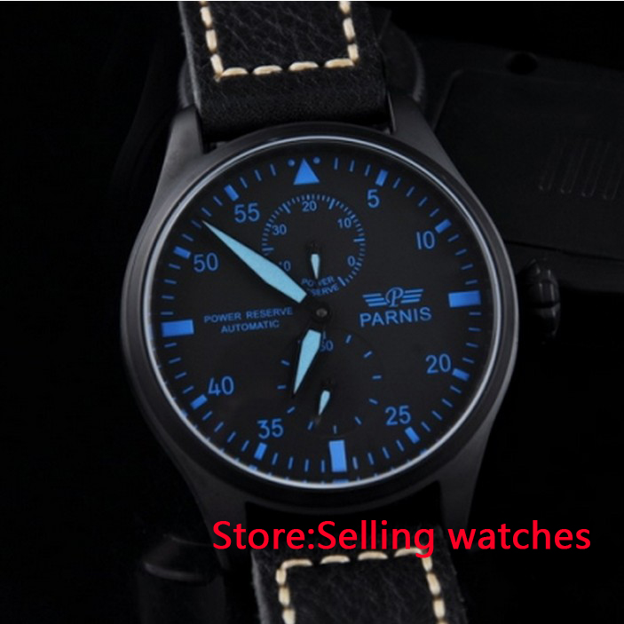 47mm Parnis Power Reserve Black PVD Case blue Numbers Automatic Mens Watch  casual 43mm parnis automatic power reserve white dial blue numbers silver watch case business watch men
