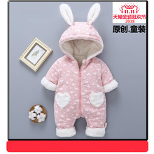 Baby onesies winter coat thickening baby out newborn clothes winter plus velvet warm cotton open file cotton clothing rompers
