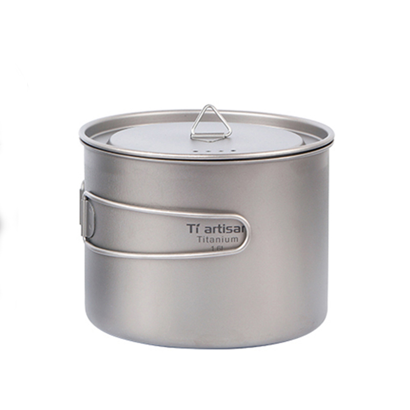 Tiartisan 1 6L Pure Titanium Pot Portable Folding Cooking Pot and Multi function Cookware Outdoor Camping