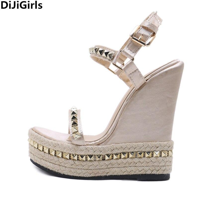 Femmes Coins Sandales Dames Talons Beige Décoration Pompes De D'été Chaussures Mariage Mode Rivet Haute gqWRd5Uwq