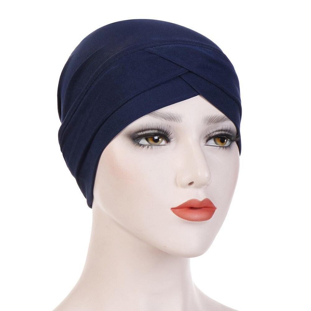 Женский хлопковый хиджаб, шарф, тюрбан, шапка, мусульманский головной платок, солнцезащитная Кепка, мусульманский Многофункциональный тюрбан, фуляр, femme musulman - Цвет: navy blue
