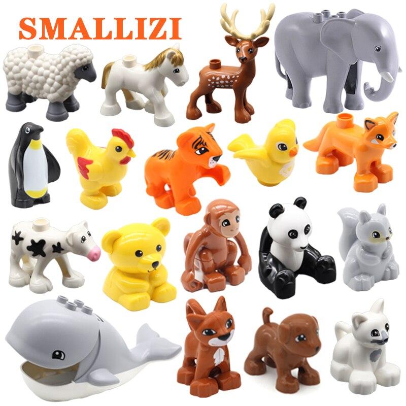 1 Pcs Zoo Animal Big Particle Building Blocks Penguin Panda Deer Ostrich Shark Bricks Education Classic DIY Toys For Children