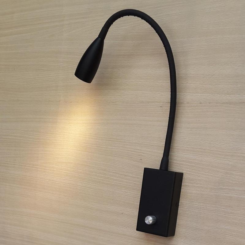 Topoch 2x Designer applique bouton noir variateur/interrupteur on/off 3 W CREE LED 200LM col Flexible 360mm hôtel décoration de la maison