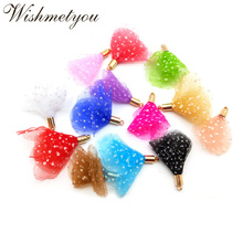 WISHMETYOU 10Pcs 40mm Colorful Sequin Tulle Tassels For DIY Earrings Decoraton Home Crafts Supplies Metal Tassel Finding Jewelry