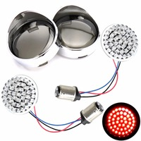 2inch 1157 Bullet Red LED Turn Signal Inserts W/Visor Ring Smoked Lens For Harley Touring Dyna Sportster Softail