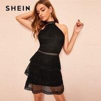 SHEIN Lady Solid Layered Ruffle Hem Dot Lace Halter Neck Summer Dress Women Black Sleeveless See through Sexy Dress Mini Dress