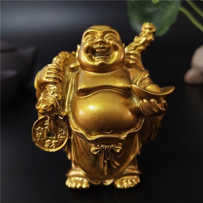 Golden Maitreya หัวเราะพระพุทธรูปรูปปั้นประติมากรรมประติมากรรมสวนบ้านตกแต่งจีน Feng Shui Happy Buddha รูปปั้น Figurine