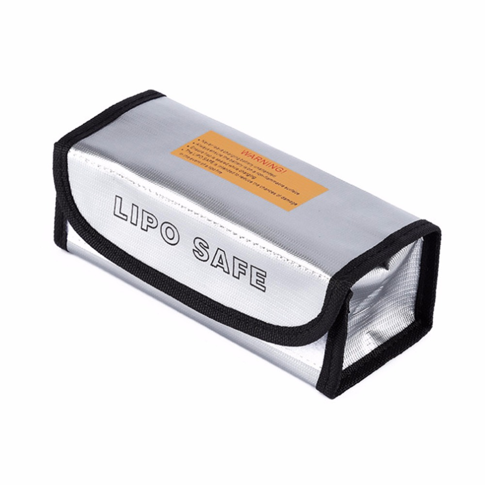 1PCS RC LiPo Battery Safety Bag Fireproof Safety Bag Guard Charge Sack Protection Box Bag Lipo Guard Bag Silver 185*75*60mm Hot