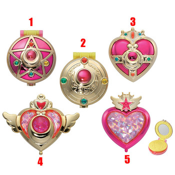 1pcs original Gashapon Sailor Moon Transforming Compact Crystal Star Compact Cosmic Heart Compact brooch Set Jewelry Case toys
