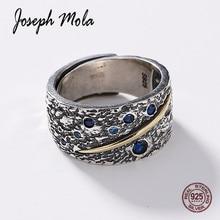 Joseph Mola 925 Sterling Silver Van Gogh Star Sky Blue Gemstone Crystal Resizable Vintage Ring For Women Men Fine Jewelry Gift
