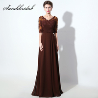 Elegant Half Sleeves Mother of the Bride Dresses A Line 2017 Brown V Neck Beading Lace Women Formal Evening Party Gowns SD336