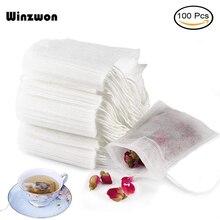 100 шт./лот, одноразовые чайные пакетики, пустые ароматизированные чайные пакетики с нитью, фильтрующая бумага для травяной листовой чай