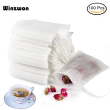 100Pcs/lot Disposable Tea Bags Empty Scented Tea Bag With String Heal Seal Filter Paper for Herb Loose Tea(China)