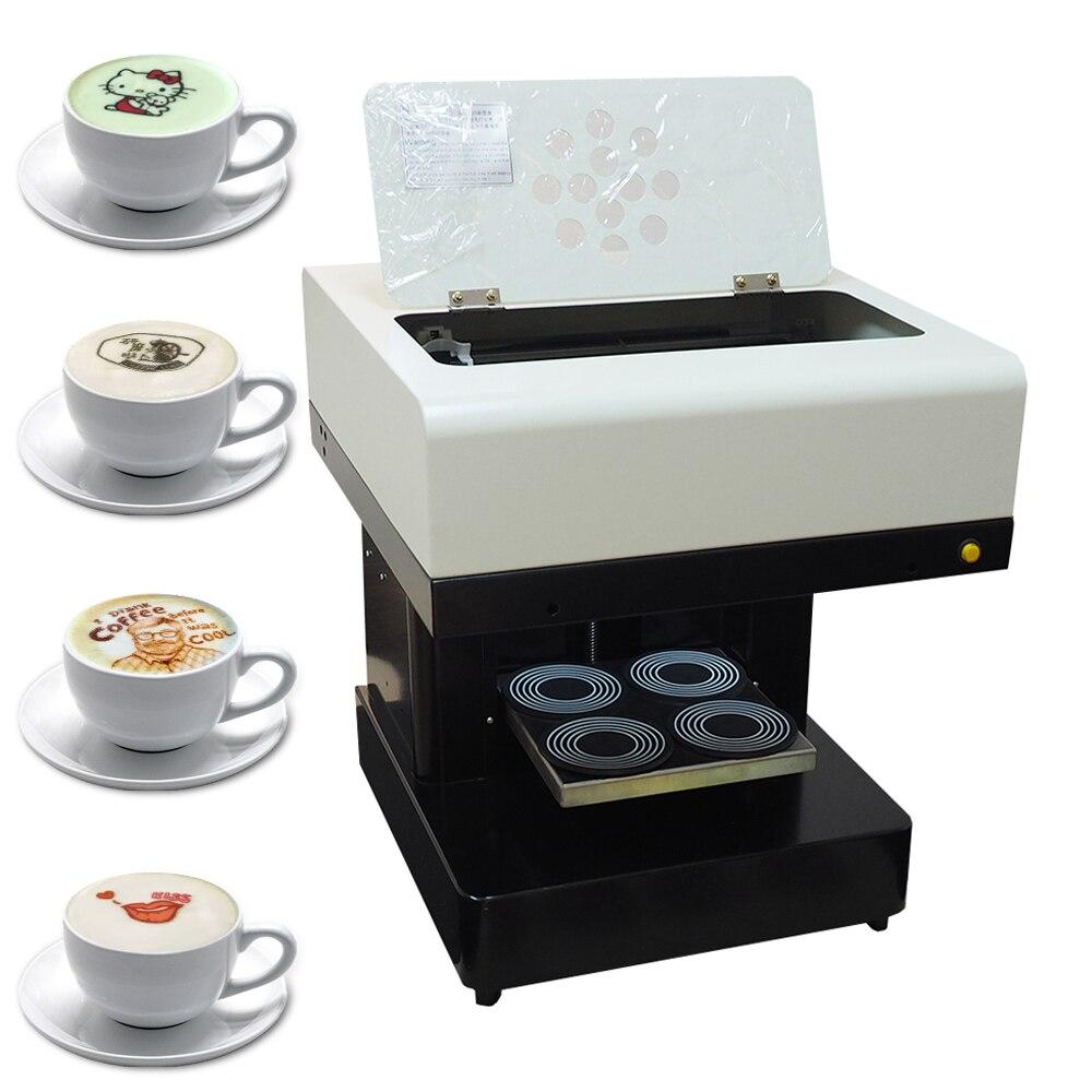 Café 4 copo Automático de Impressora Impressora de Bolo Biscoitos de Chocolate Selfie 2priter máquina de Impressão de café para Cappuccino com Wi-fi