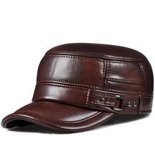 Harppihop*genuine leather men baseball cap hat high quality mens real sheep skin adult solid army hats caps