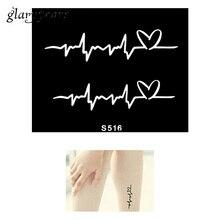 Hot 1 Piece Small Henna Tattoo Stencil Creative Electrocardiogram Pattern Design Health Body Art Tattoo Stencil Top Quality S516