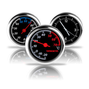Creative Mini Clock Car Styling Quartz Clock Thermometer Hygrometer Car Ornaments
