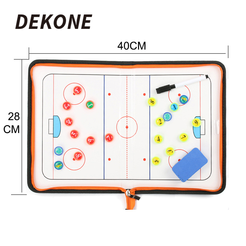 Hockey Coach Clip Board Dry Erase Marker With Eraser PU Black Hockey Coach Train Small Pocket Size Ice Roller Equipment