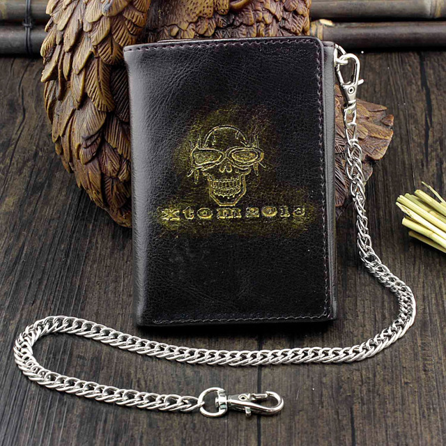 SKULL TRIFOLD GENUINE LEATHER WALLET