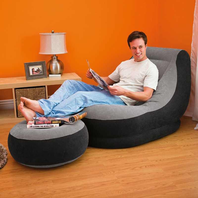 Inflatable Sofa For Adult Air Seat Bean Bag Inflatable For Living Room Bedroom Beanbag Sofa Lazy Chair With Footwell Foot Pump casual backrest sofa bedroom living room nap inflatable lazy single folding sofa black l shape with arch design bean bag chair