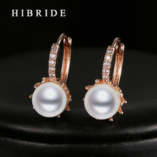 HIBRIDE Luxury Women Wedding Imitation Pearl Earring Clear CZ Stone White/Rose Gold Color Hoop Earrings E-19
