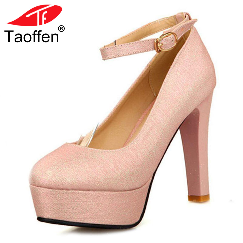 TAOFFEN women thin high heel shoes round toe platform female fashion heeled sexy pumps heels shoes plus big size 30-50 P16615